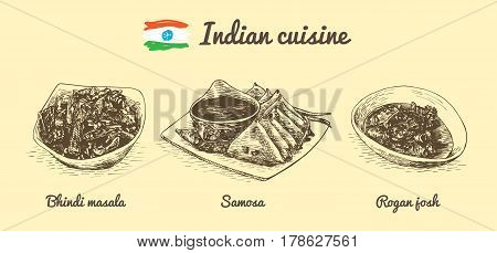 Indian menu monochrome illustration. Vector illustration of Indian cuisine.