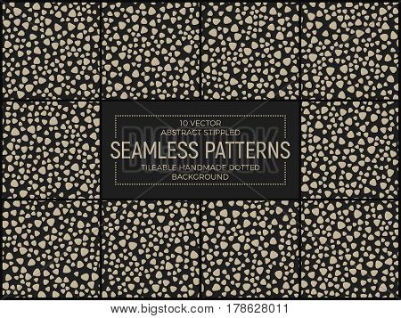 Set of 10 Abstract Vector Funky Stippled Retro Seamless Patterns. Handmade Tileable Hipster Geometric Dotted Vintage Background