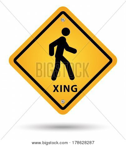 xsing road sign for pedestrian in yellow color