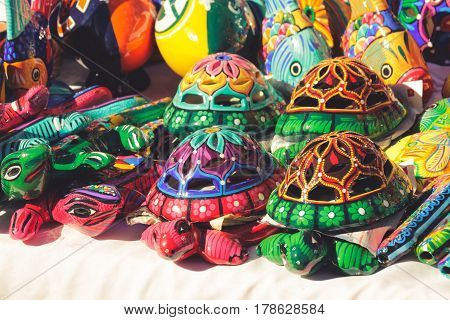 Turtles And Fishes Colorful Handicrafts