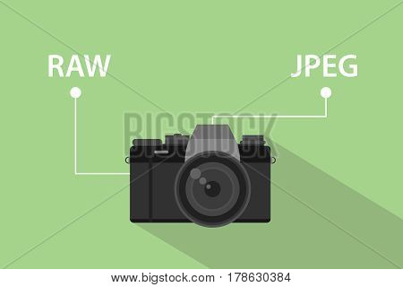 Comparing format file of camera between RAW format and JPEG format illustration with camera icon and green background vector