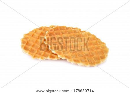 crispy waffle with butter flavour on white background