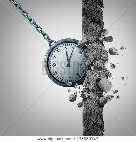 Time limit deadline schedule concept as a clock shaped as a wrecking ball destroying and breaking a cement wall obstacle as a business scheduling and management metaphor with 3D illustration elements.