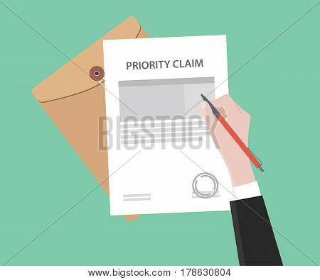 illustration of a man signing stamped priority claim letter using a red pen with folder document and green background vector