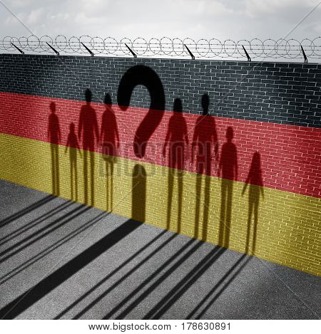 German refugee question and immigration government policy as newcomers in Germany as the cast shadow on a wall with the flag representing Germans with 3D illustration elements.