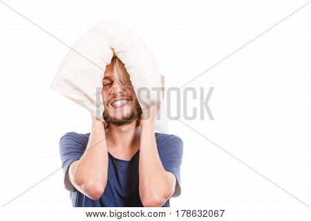 Man Playing With Pillow, Good Sleep Concept