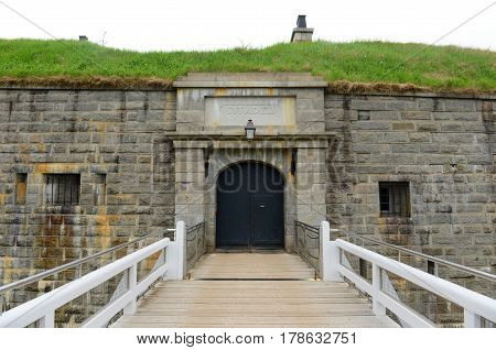 Halifax Citadel National Historic Site on top of Citadel Hill in downtown Halifax, Nova Scotia, Canada. The current citadel was built in 1856.