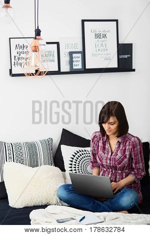Young Freelancer Woman Using Laptop.happy Smiling Girl Working On Line.work At Home.studying And Lea