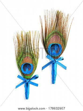 Wedding boutonnieres with peacock feather isolated on white