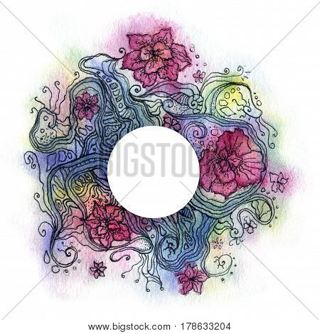abstract floral watercolor with white circle in the center