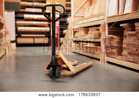 Manual pallet jack in supermarket