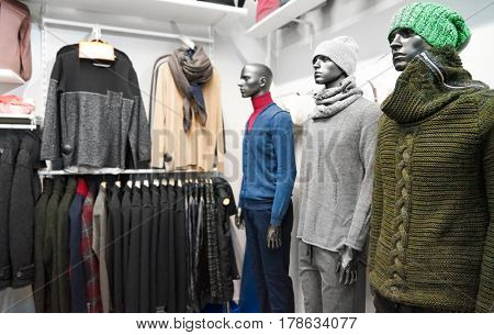 Mannequins in menswear store