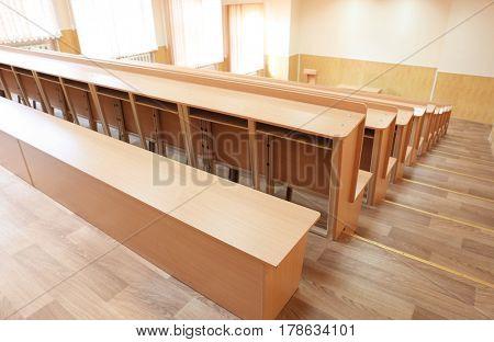 Interior of big modern classroom
