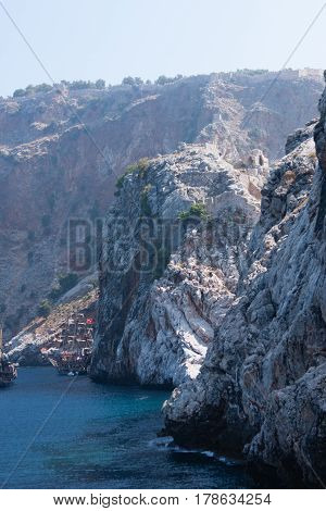 View From Sea Of Alanya Castle Rock