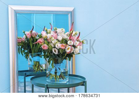 Interior design of room with beautiful flowers
