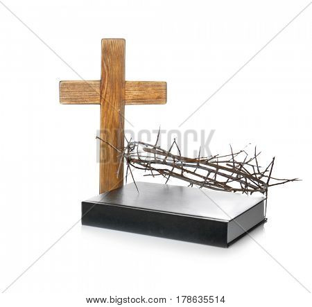 Crown of thorns, Holy Bible and wooden cross on white background