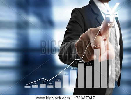 businessman with financial symbols coming from hand