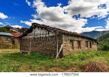 Stone House In Shenako Village At Tusheti Region. Georgia