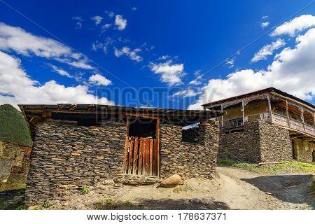 Shale Stones Houses In Shenako Village At Tusheti Region. Georgia
