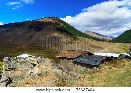 View In Mountains And And Shale Stones Houses. Shenako Village In Tusheti Region. Georgia
