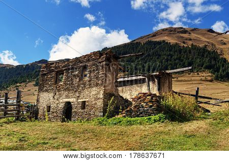 Ruin House On Mountains In Tusheti Nature Reserve. Georgia