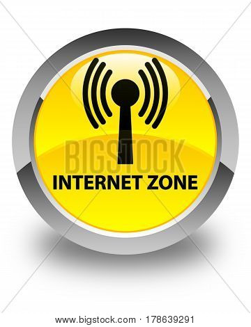 Internet Zone (wlan Network) Glossy Yellow Round Button