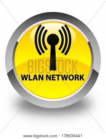 Wlan Network Glossy Yellow Round Button