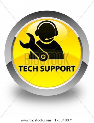 Tech Support Glossy Yellow Round Button