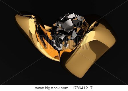abstract black luxury background 3d render .