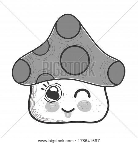 grayscale kawaii funny fangus with tongue outside, vector illustration design
