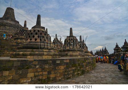 Magelang, Central Java, Indonesia - Circa January 2012 - Stupas at Borobudur, Indonesia