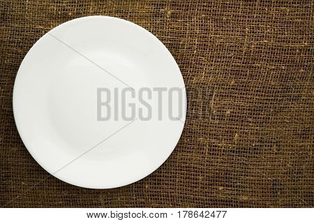plate top view. copy space . plate white