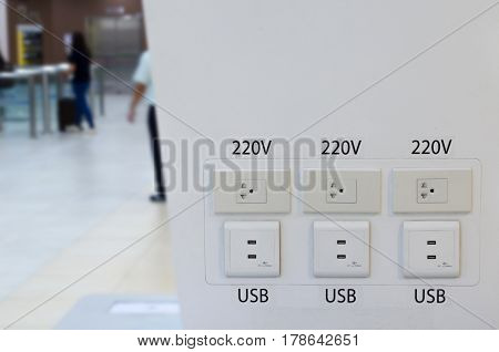free charger counter in transportation terminal at the airport, usb, plug