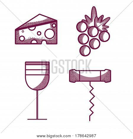 wine glass with cheese, grape and corkscrew, vector illustration design