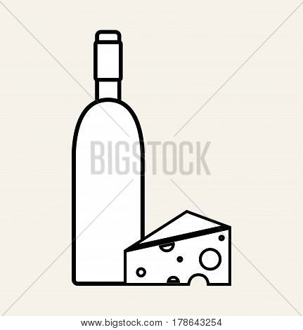 wine bottle with tasty cheese, vector illustration design