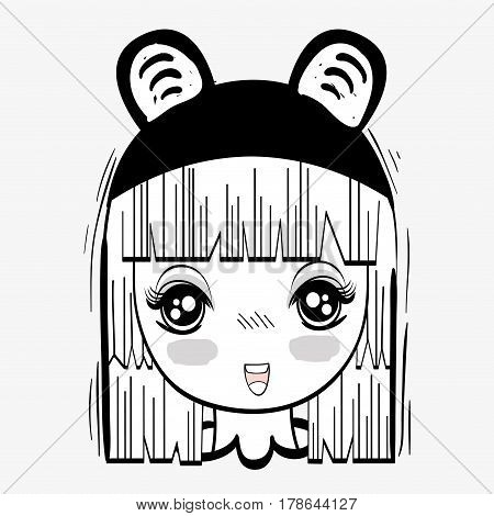 anime nice tender woman with costume, vector illustration