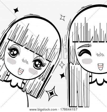 anime happy tender women with stars, vector illustraion