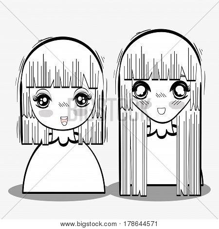 anime tender shy women, vector illustration design