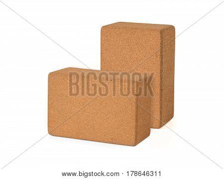 Two Cork Yoga Blocks Eco Friendly Isolated on White Background