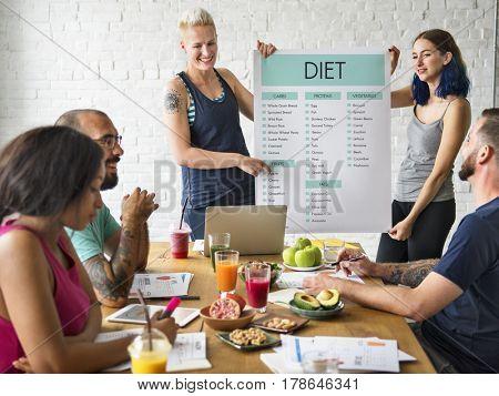 Adult people living healthy diet plan