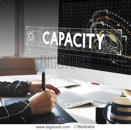 Capacity word graphic design with graphic designer working table