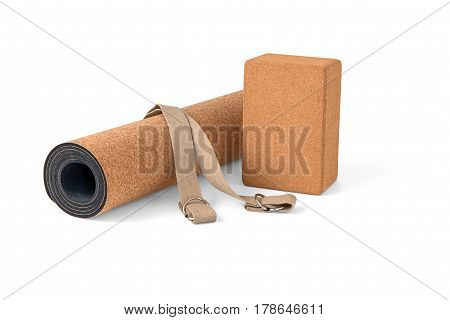 Cork Yoga Mat Block With Strap Premium Eco Friendly Product on White Background