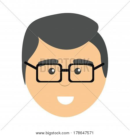 face professional man with glasses, vector illustration design