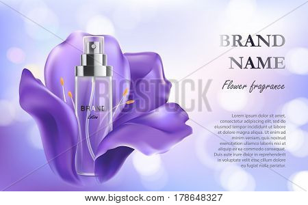 Vector 3D illustration poster with anti-aging moisturizing cosmetic premium product, background with beautiful spray bottle, violet flower and bokeh effect