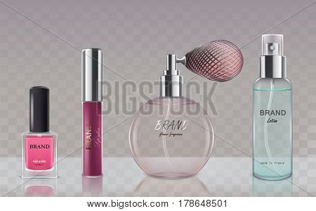 Collection of glass cosmetic bottles spray bottle with lotion, vintage perfume bottle, bottle with liquid lipstick, bottle of nail polish in realistic style