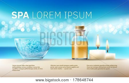 Vector illustration of a realistic style, set for spa treatments with aromatic salt , massage oil, candles. Excellent turquoise advertising poster for the spa salon.