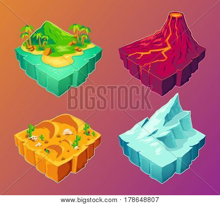 Vector 3D isometric illustration tropical island, volcanic island, desert, ice island, design elements for games