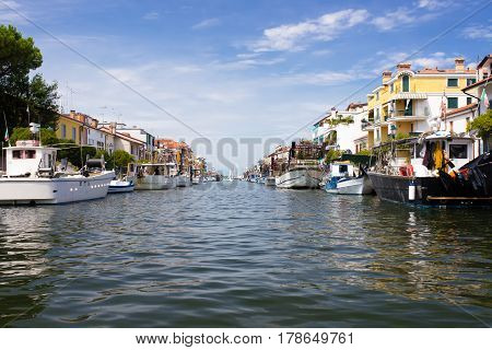 Town of Grado channel and boats view, Friuli-Venezia Giulia region in Italy