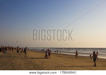 Arambol Beach, Goa, India - February 23, 2017: Flea Market On Arambol Beach At Sunset In Goa, India