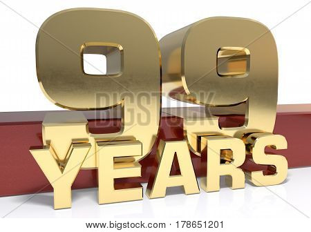 Golden digit ninety nine and the word of the year. 3D illustration